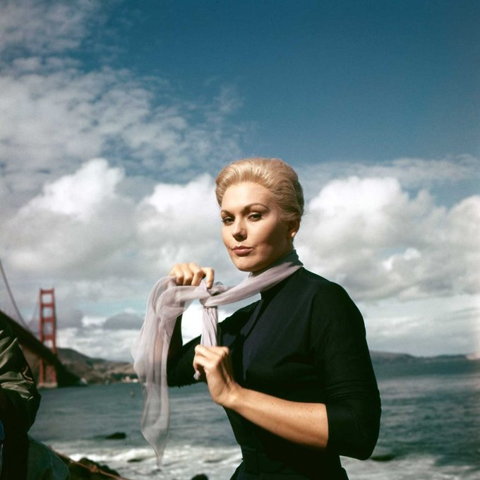 Wishing a happy birthday to Kim Novak, here on location in San Francisco for VERTIGO (1958).