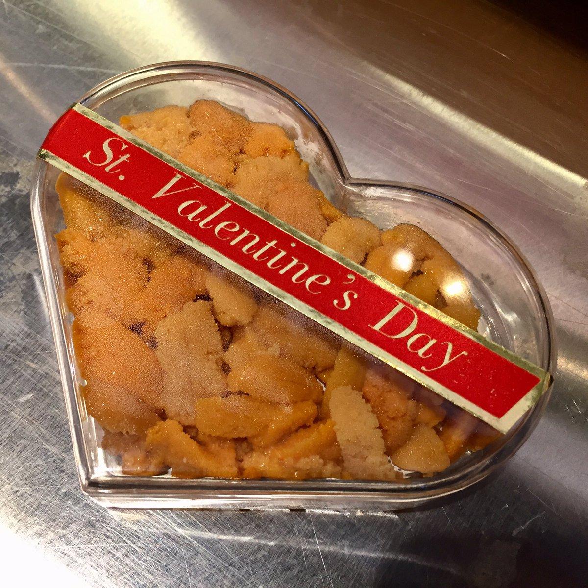 2/14 ハッピーバレンタイン! とうことで、大川魚店では、バレンタインうにを販売します。 四倉、泉店ともに品揃えしております。お父さんにプレゼントしてあげてくださいね。 https://t.co/V5ai4C6coy