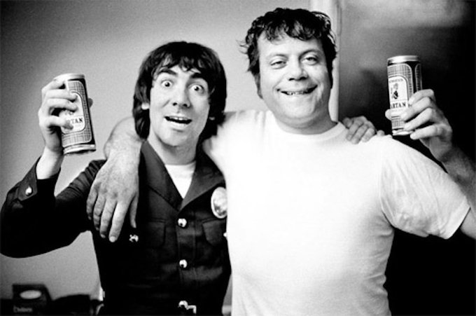 Happy Birthday English actor Oliver Reed (February 13, 1938 May 2, 1999) sharing a beer with Keith Moon