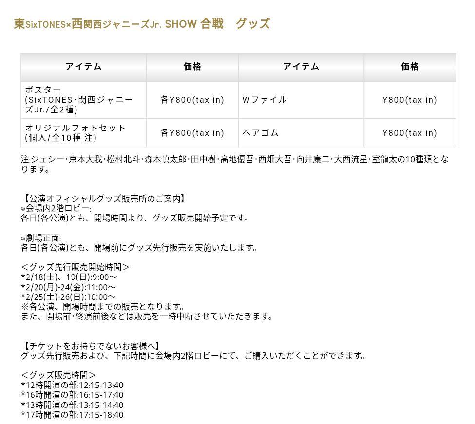 「東SixTONES×西関西Jr.SHOW合戦」グッズ ・ポスター(SixTONES・関西Jr./…