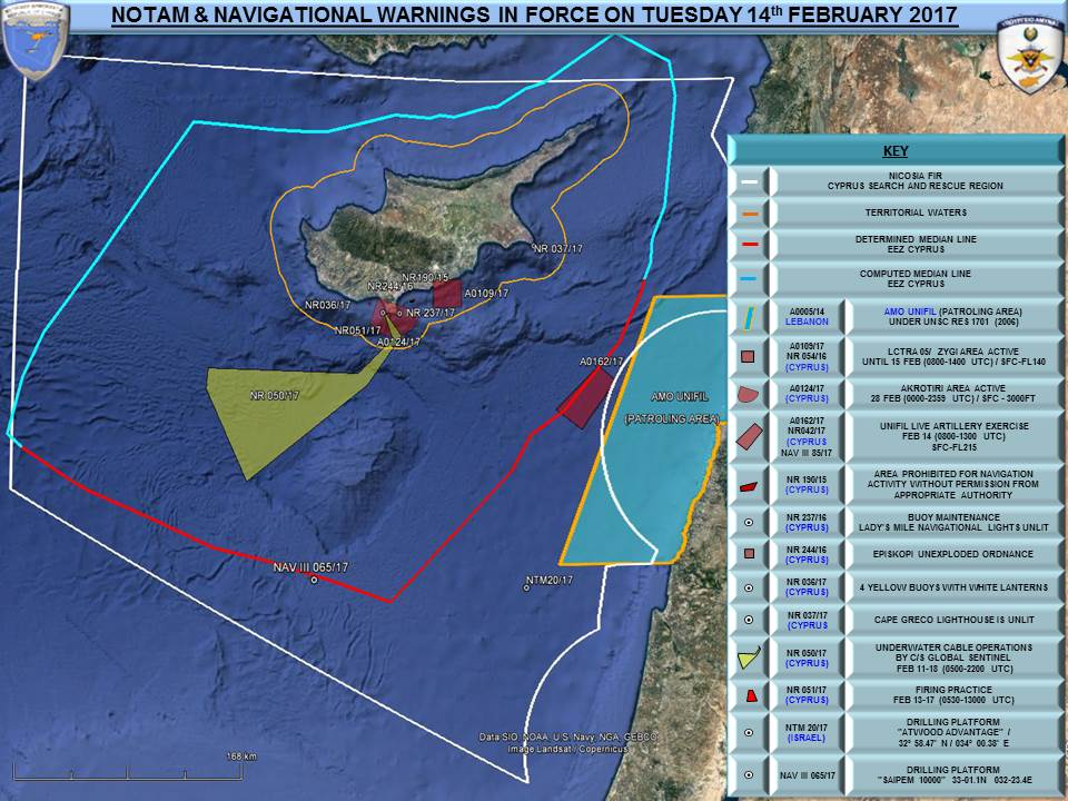 NOTAM  and  navigation warnings in force around Cyprus today. United Nations - Live artillery exercise off the Lebanon coast.