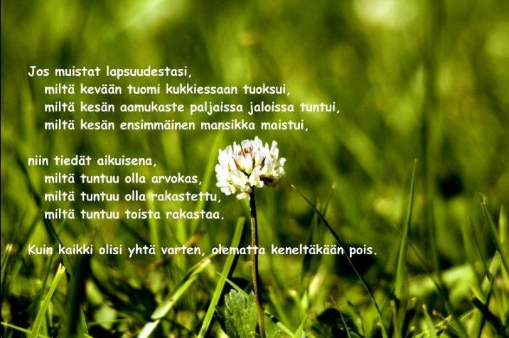hyvää kesää runo