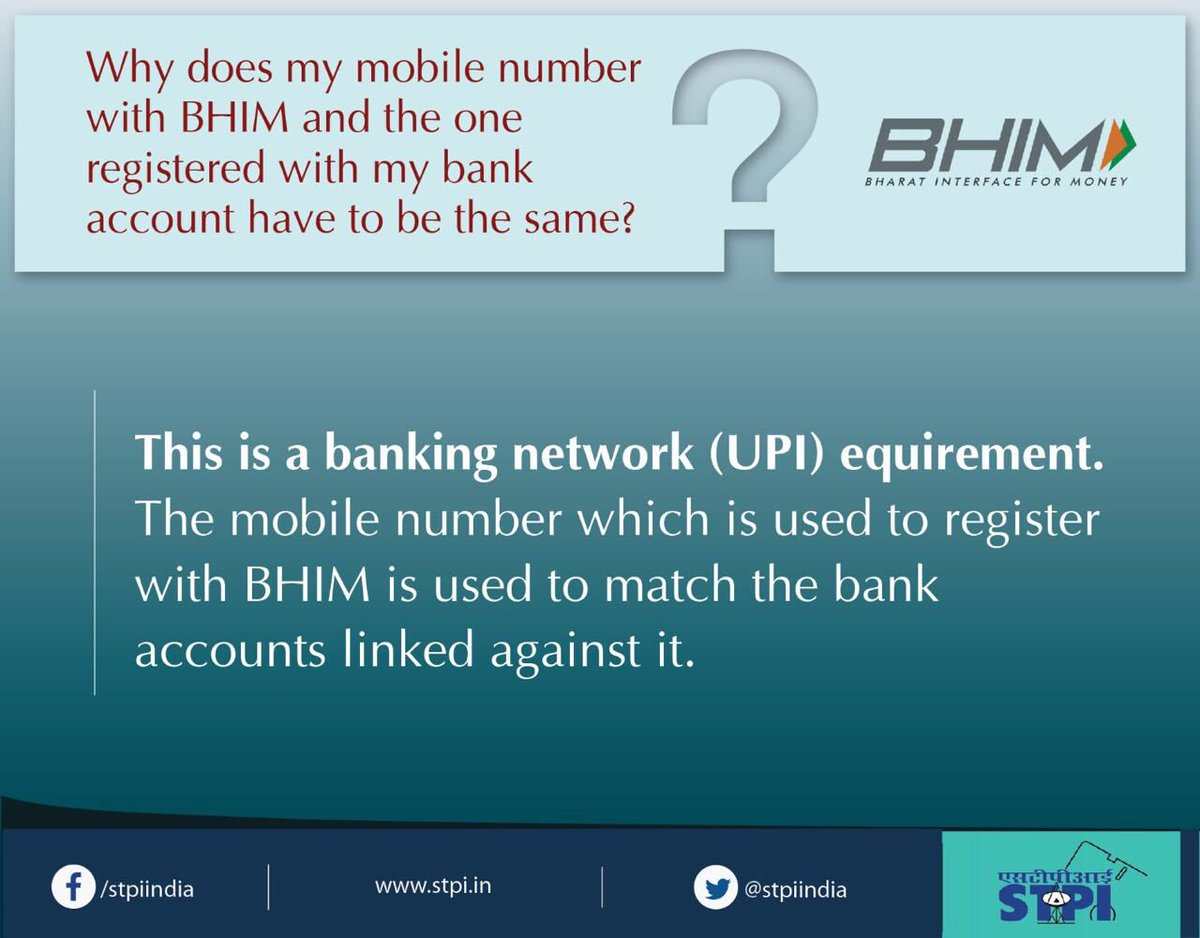 #FAQ: Why my mobile no with #BHIM &amp; one registered with bank a/c to be same? #GoCashlessGoDigital #DigiDhanAbhiyan @rsprasad @ppchaudharyMoS<br>http://pic.twitter.com/Hv5hGPaHdB