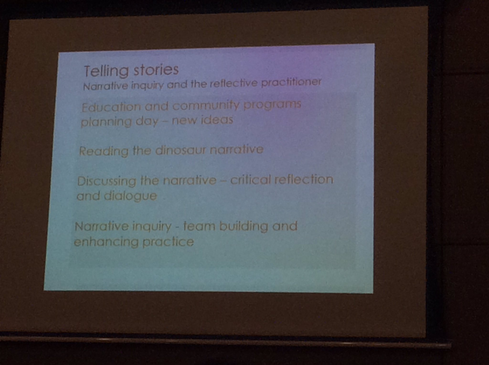 Narrative Inquiry & the reflective practitioner @museumsvictoria #VRF17 @lizmvhums shares project outcomes https://t.co/qz6LStXEXe