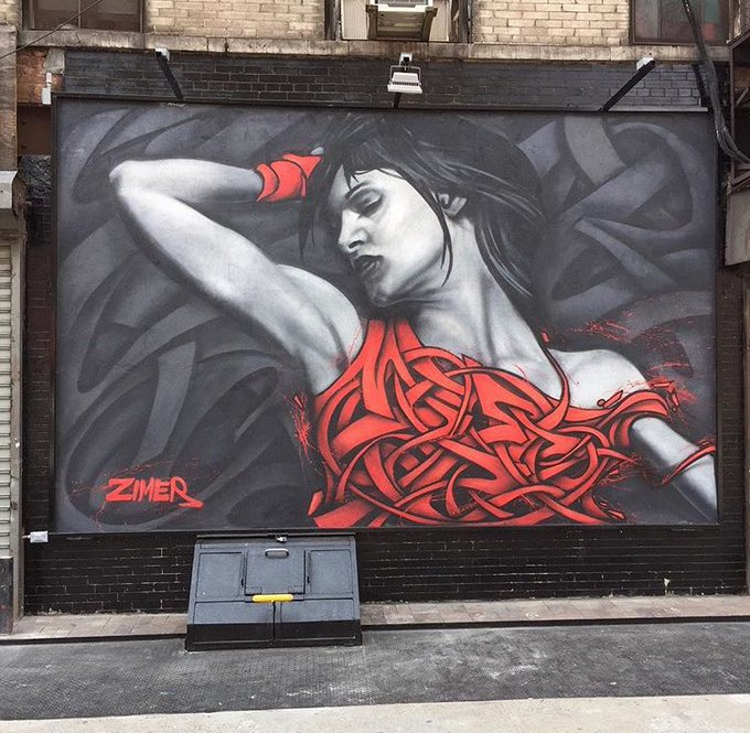 Street Art works by the artist Zimer   #art #mural #arte