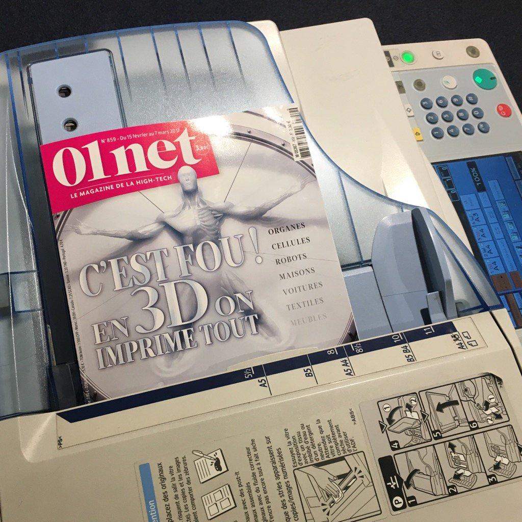 Dans la version imprimée couleur de votre @01netMag, un dossier sur l&#39;impression 3D #3Dprinting. Demain en kiosque <br>http://pic.twitter.com/fA3wP28at0