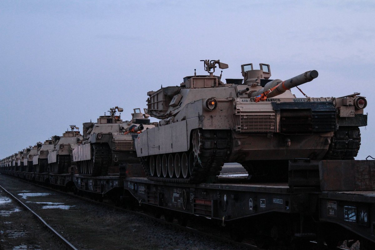 US tanks and troops flood into Romania.