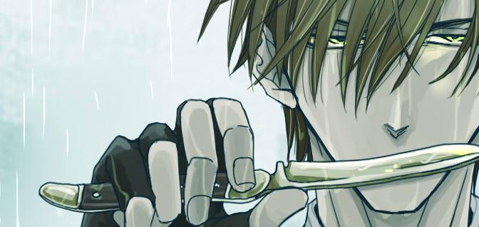 厨二心のままにヘッダーを神父に。殺し屋モード。主な武器はアンティークの折り畳みナイフ。厨二すぎるので…