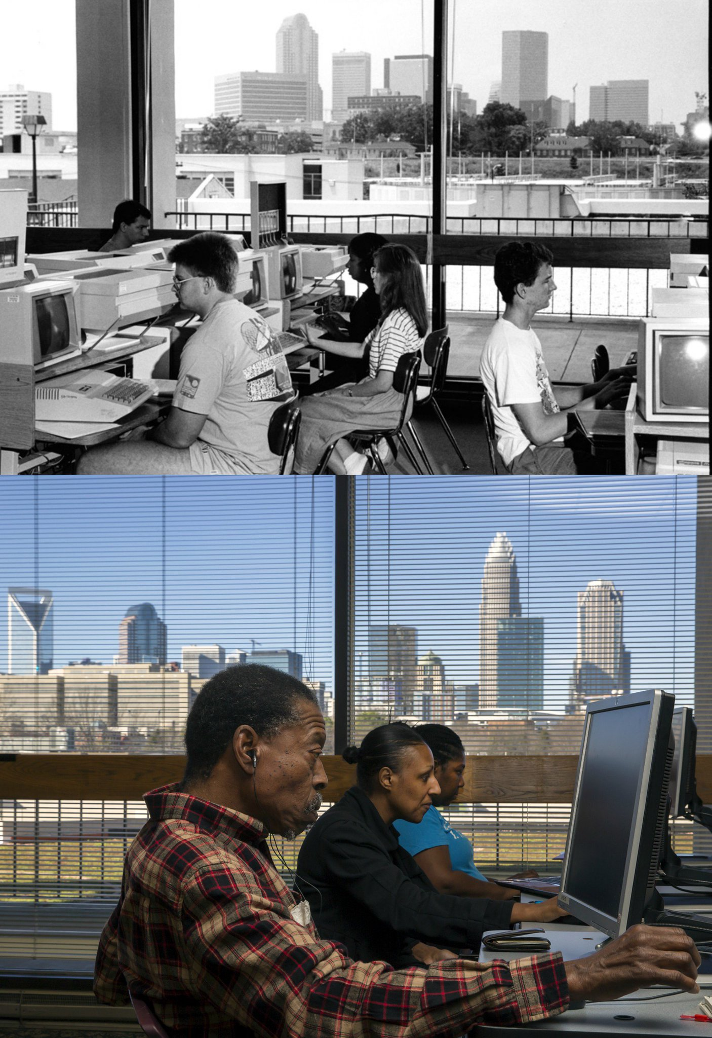 #TransformationTuesday Flashback to when the LRC got their first online database & computer lab (c. 1989). The bottom image is today! https://t.co/ZwyUtdlDKG