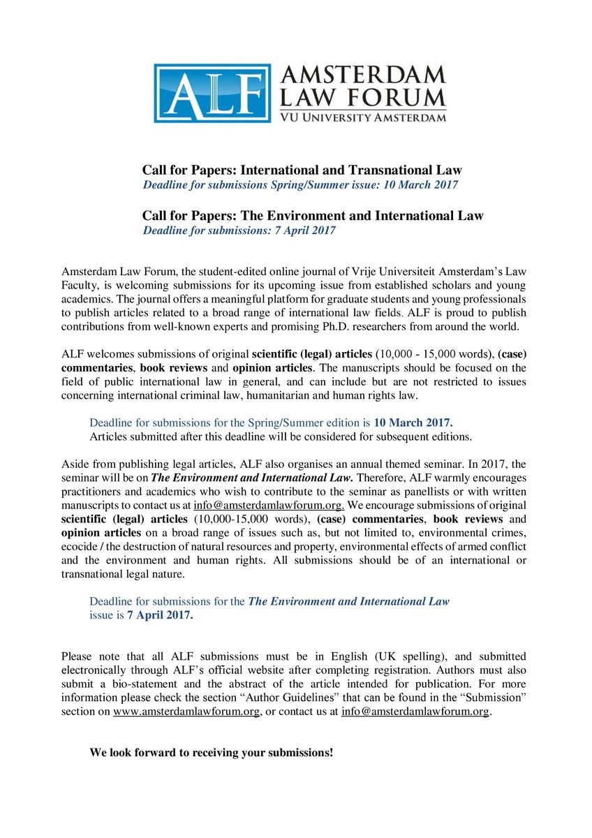 Amsterdam Law Forum On Twitter Call For Papers