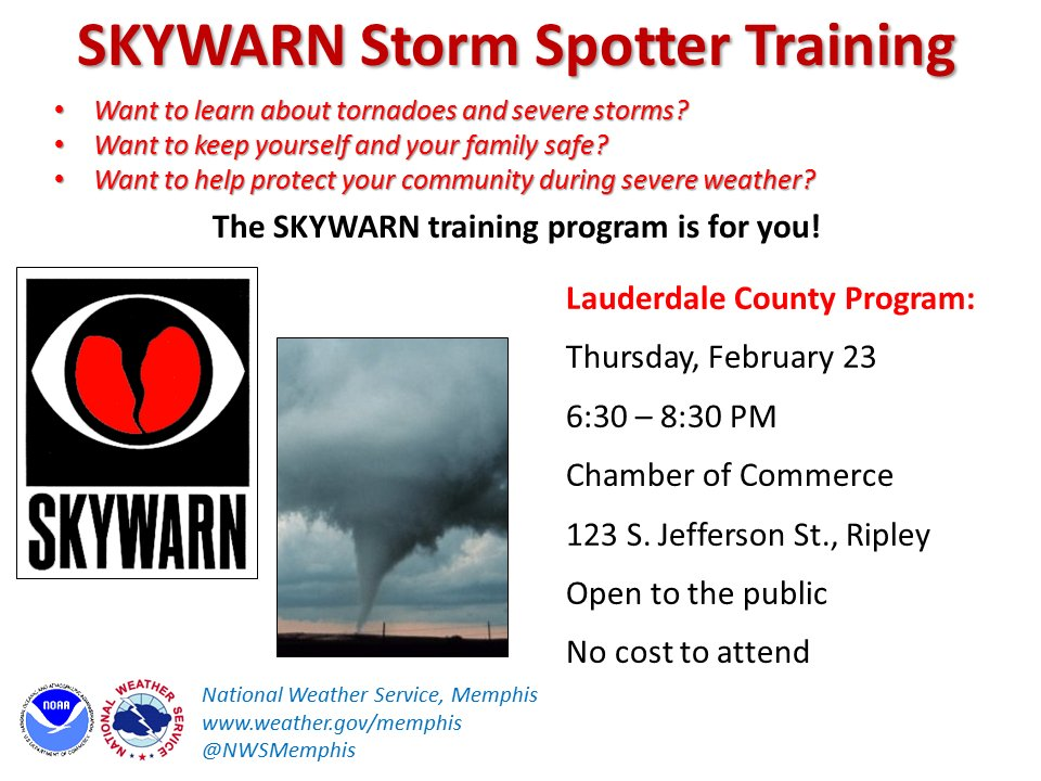 Hi #Lauderdale Co #tnwx ! #SKYWARN spotter program Thu 2/23 in #Ripley. Learn about #storm clues, how to keep safe.<br>http://pic.twitter.com/xhIVLPGYNW