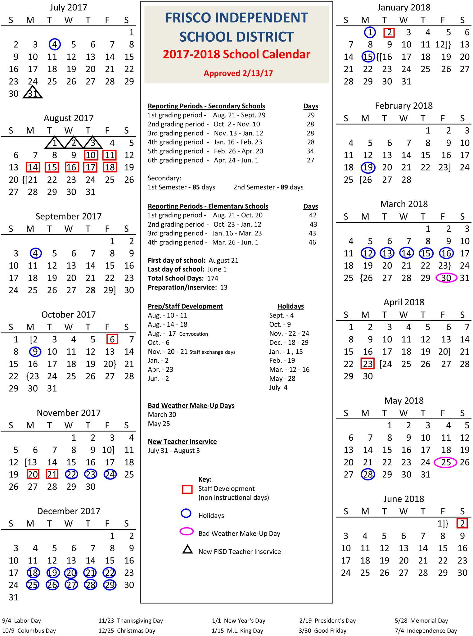 Frisco Isd 2022 Calendar.Frisco Isd On Twitter Here S A Look At The Approved 2017 18 School Calendar If Bad Weather Days Are Needed May 25 Will Be The First To Be Utilized Https T Co Gi4k5tsxcv