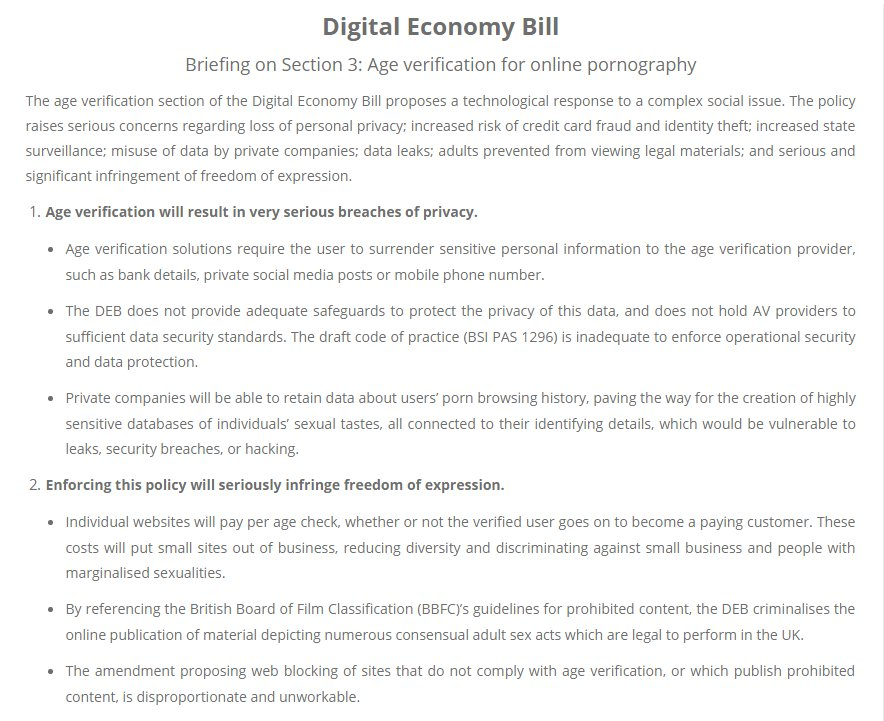 Briefing on the age verification section of the Digital Economy Bill - by Pandora Blake for Backlash
