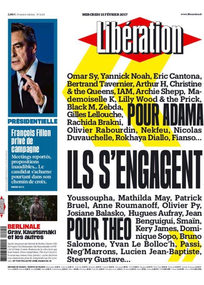 """Infos Françaises on Twitter: """"📄 Pour Adama. Pour Théo. Plusieurs personnalités s'engagent. À la Une de Libération ce mercredi :… """""""