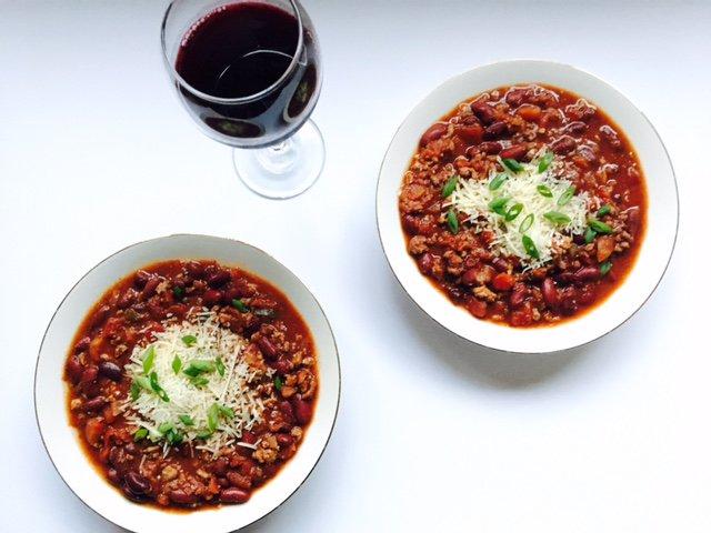 Slow Cooker Turkey Chili w/ Red Wine
