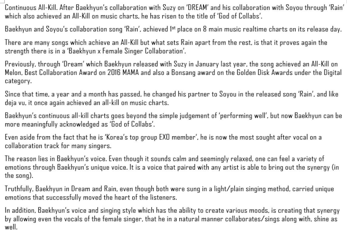 exo fanbase 」 exo fanbase twitter trans article 170214 at this level baekhyun given the title god of collaborations will be a perfect allkill 비가와