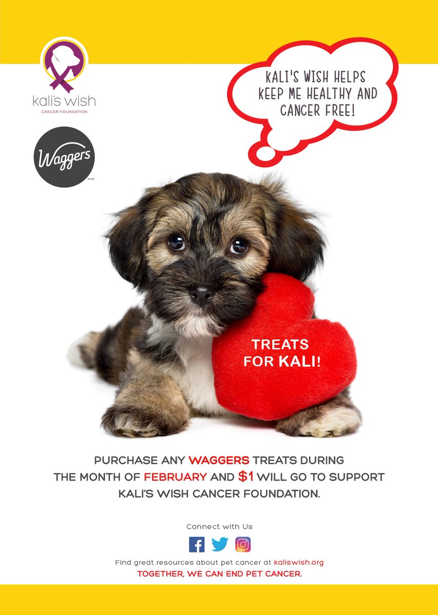 Getting Valentine's Day treats for your dog? Try @WaggersTreats. $1 fr their purchase at any @PetPlanetHealth will be donated to Kali's Wish