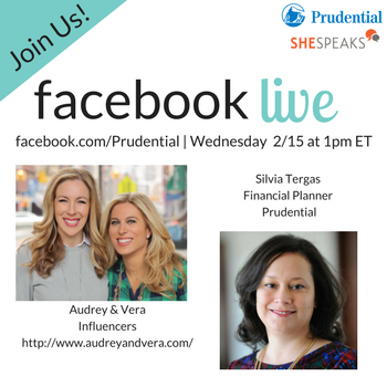 Join me with @SheSpeaksUp & @Prudential #OwnMyFuture Facebook Live event 2/15 at 1pm ET https://t.co/hMiuJ6DcPE #ad https://t.co/5U1fuOaAic