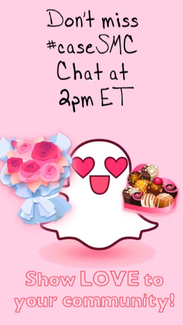 #CASEsmc chat today 2pm ET! Showing luv 2 your community. Checkout @Snapchat_EDU 4more on #higherED community #HESM https://t.co/6uw76cSRh0 https://t.co/xQspuUTcSk