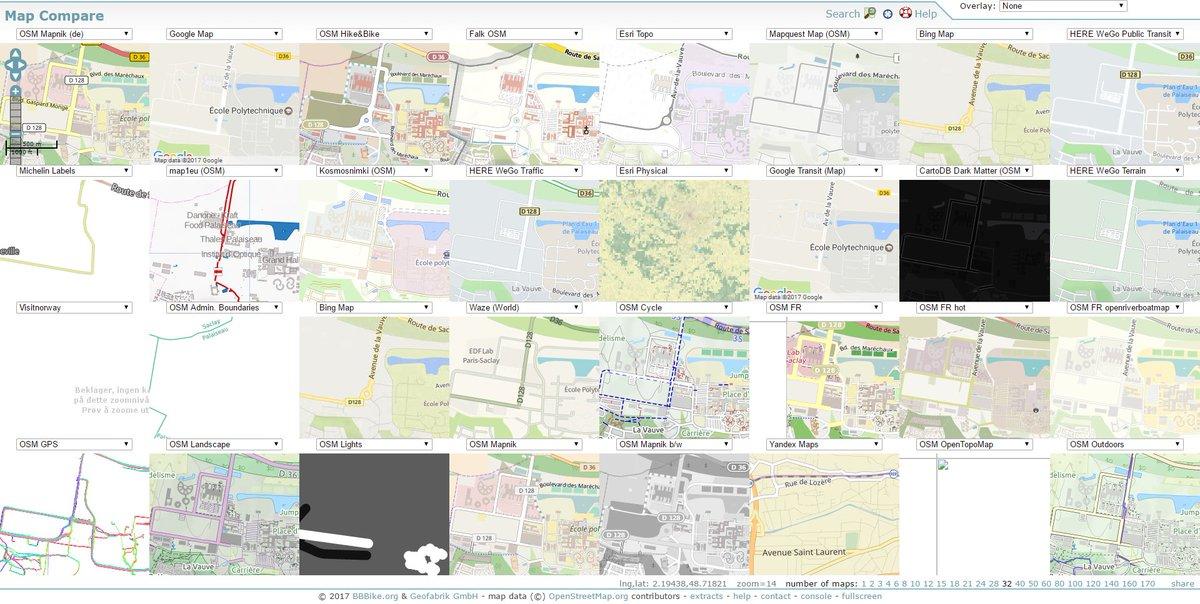 Vous avez besoin de comparer jusqu&#39;à 43 services de #cartographie différents sur la même page ? Bougez pas.  http:// mc.bbbike.org/mc/  &nbsp;  <br>http://pic.twitter.com/A7xQUrgqg4
