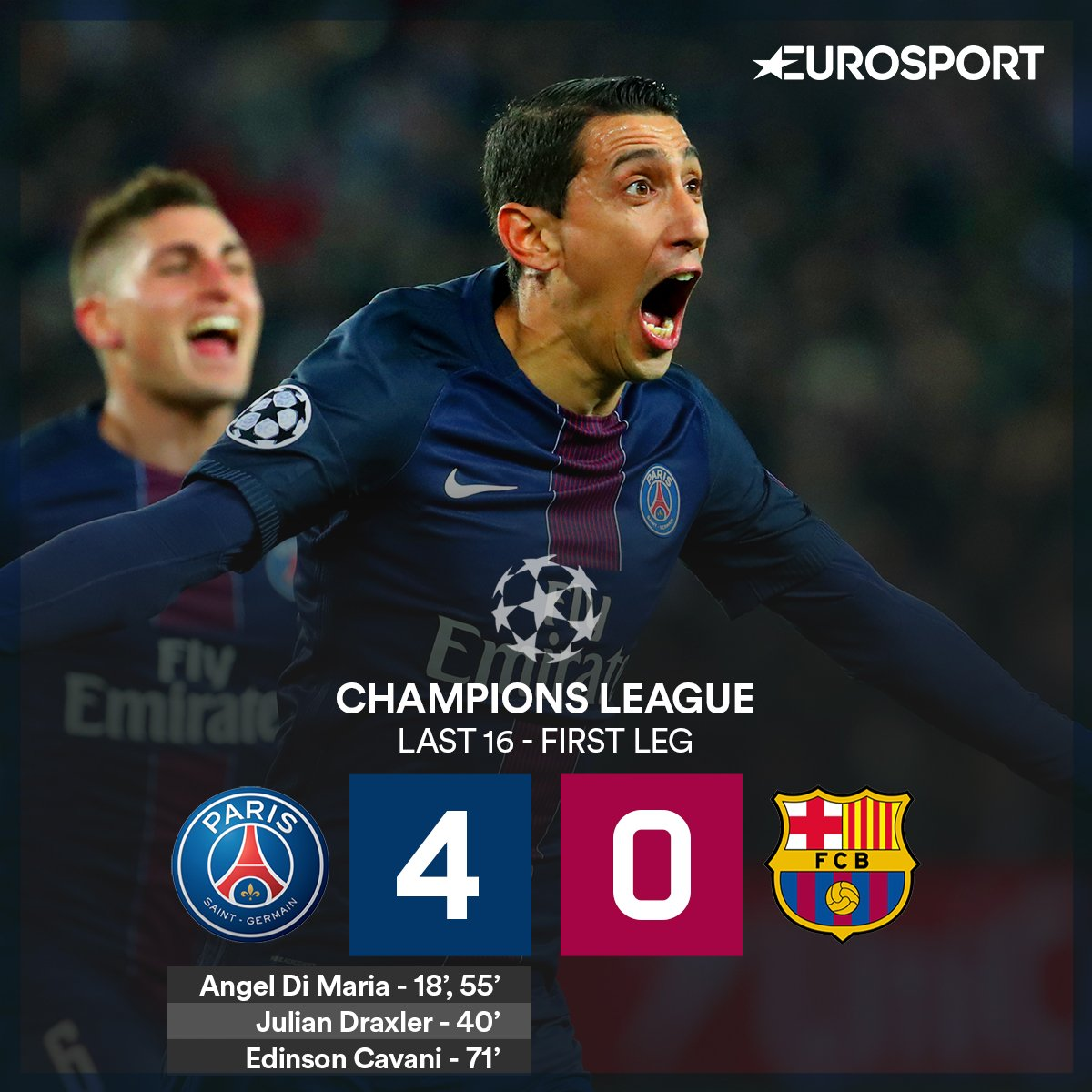 Eurosport Uk בטוויטר Huge Shock Psg 4 0 Fcbarcelona Psg Stun Barcelona With A Famous Victory In Paris Psgfcb