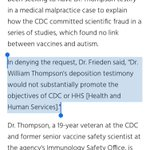 Image for the Tweet beginning: CDC admits #CDCwhistleblower Thompson's testimony