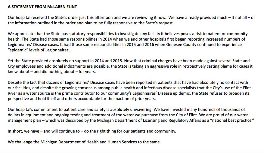 ALERT: McLaren Hospital In Flint Issues Scathing Response To @MichiganHHS  Crackdown On Its Water.
