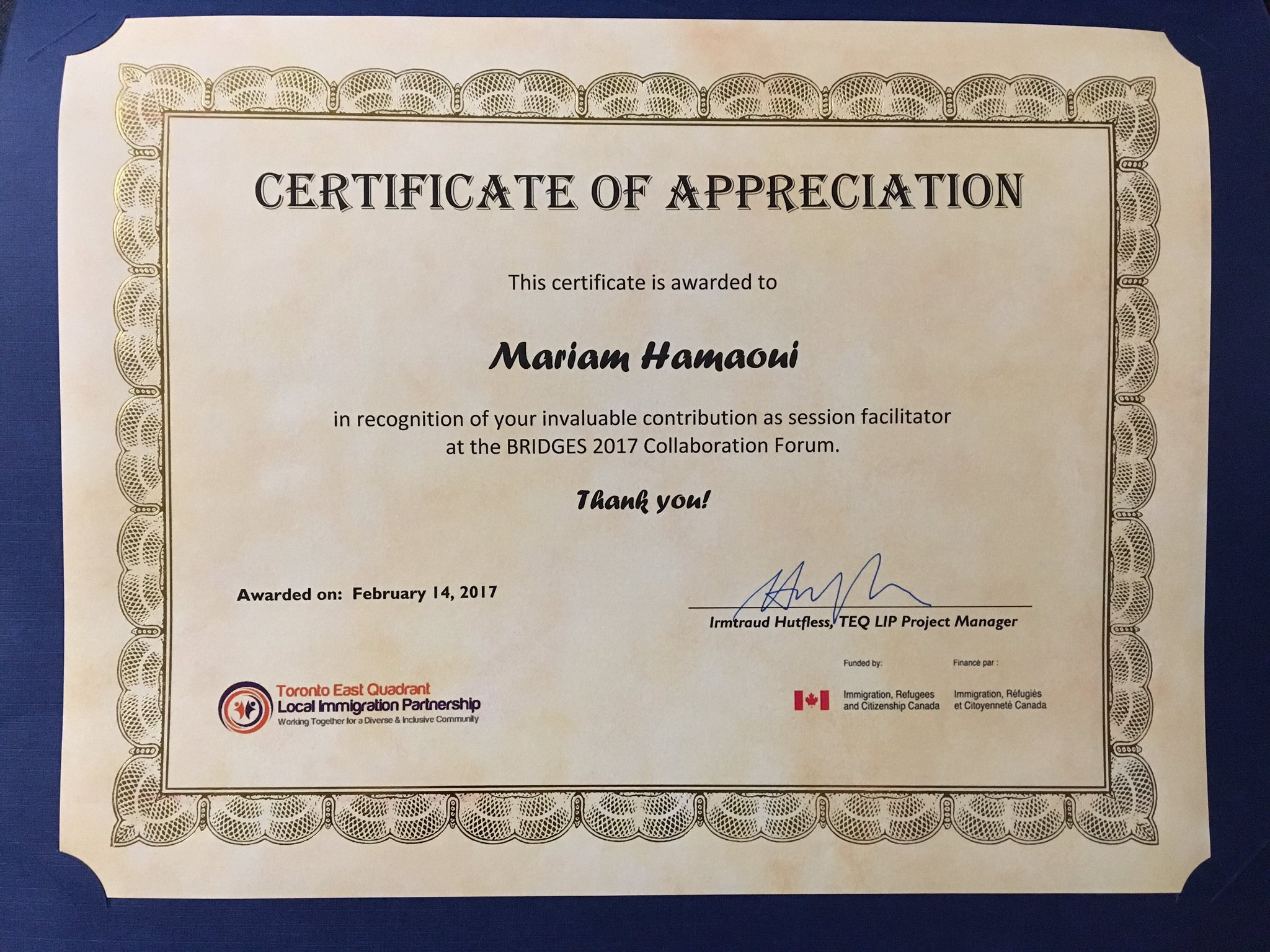 Mariam hamaoui on twitter thank you teqlip for the certificate mariam hamaoui on twitter thank you teqlip for the certificate of appreciation bridges2017 facilitator polycultural syriannewcomer polycultural yadclub Images