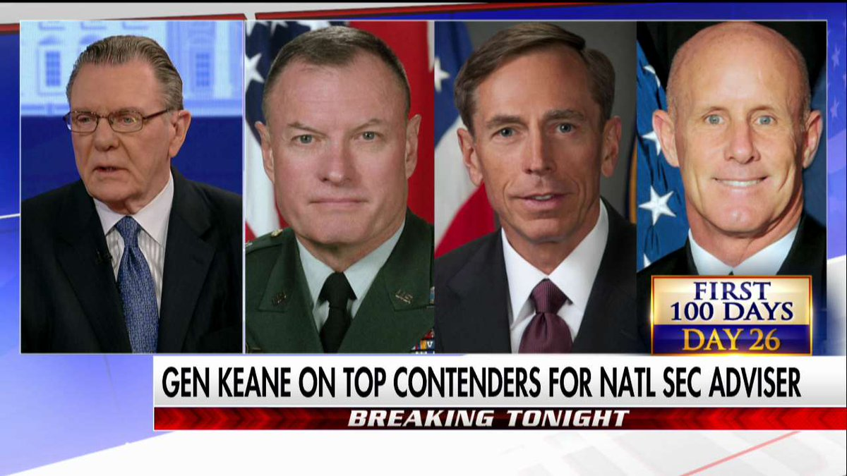 """General Jack Keane: """"Clearly, the most qualified there is David Petraeus."""" #First100"""