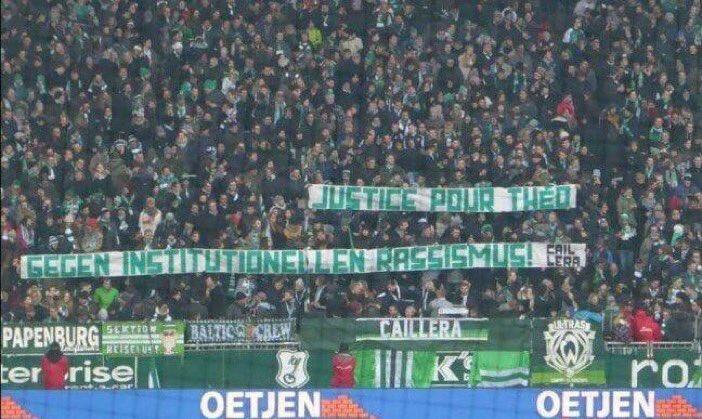[#Allemagne🇩🇪] Banderole pour Théo dans un stade de Brême en Allemagne.  Via @LouisWitter