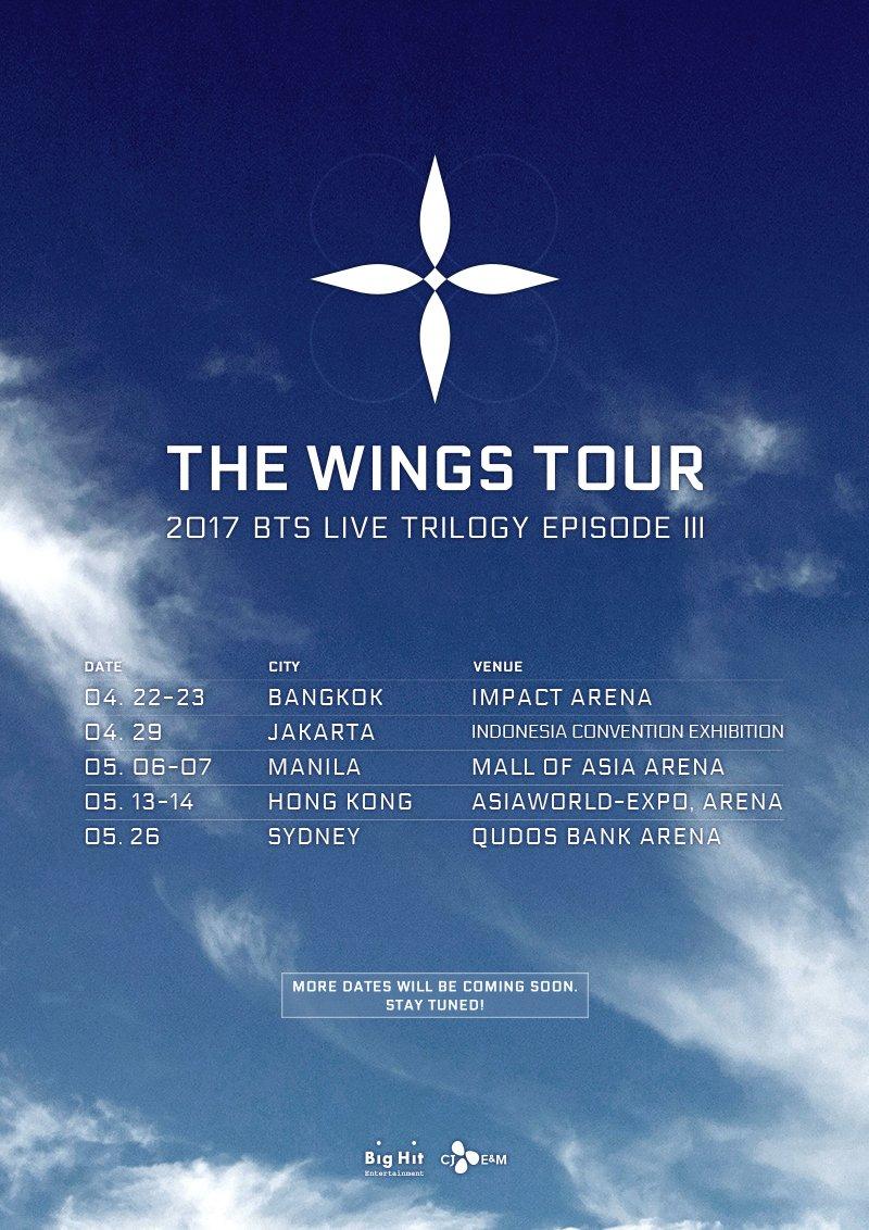 RT @BigHitEnt: 2017 BTS LIVE TRILOGY EPISODE III THE WINGS TOUR 일정 추가 안내  #BTS #THEWINGSTOUR https://t.co/TVI0WBCUqE