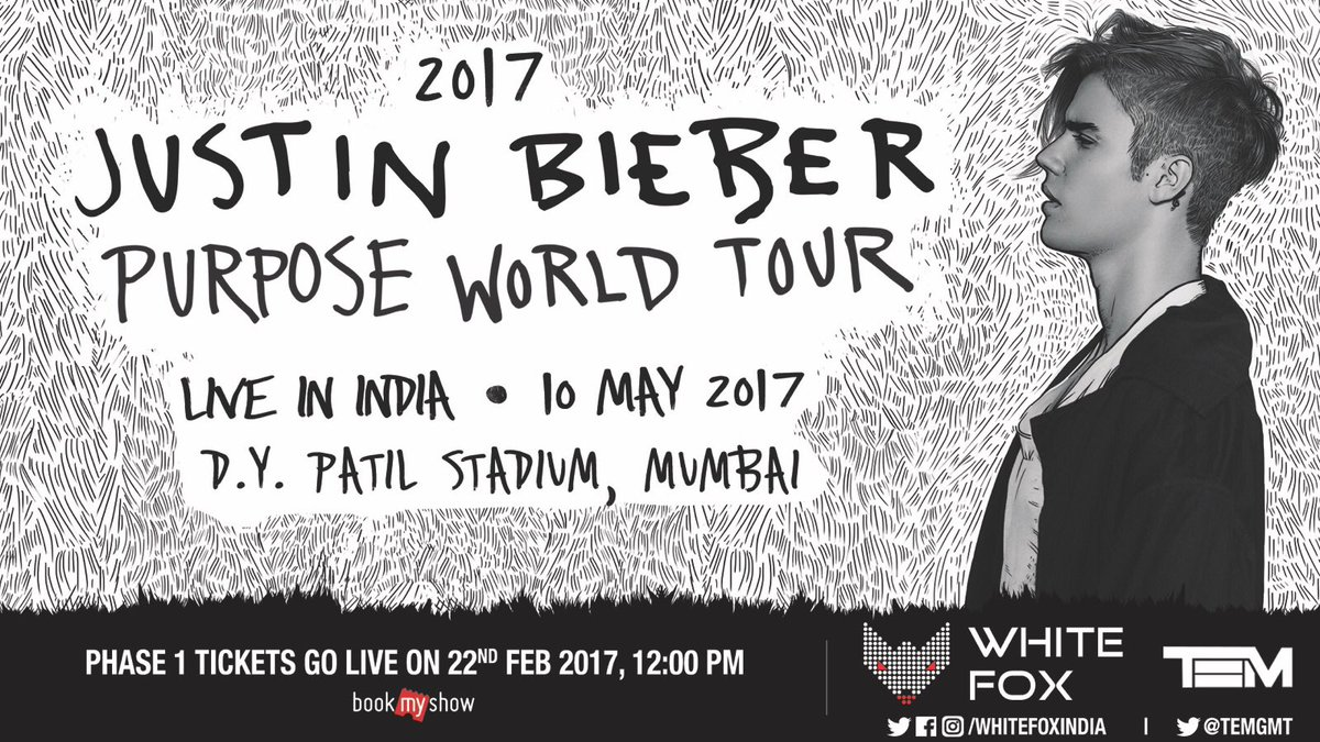 Justin Bieber On Twitter India Tickets Go On Sale Feb 22 See U