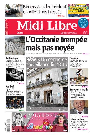 #MidiLibre Bonjour Béziers ! Voici la Une de @MLBeziers de ce mercredi 15 février. #occitanie #inondations #stups #techno #PSGFCB<br>http://pic.twitter.com/jFq1RWx3ww