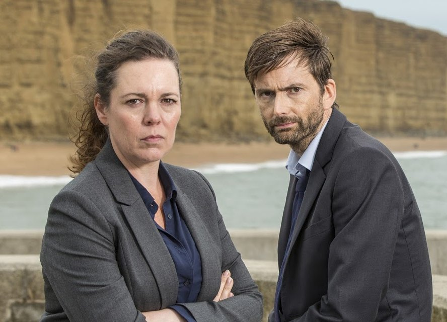 David Tennant and Olivia Colman from a Broadchurch Series Three promo photo