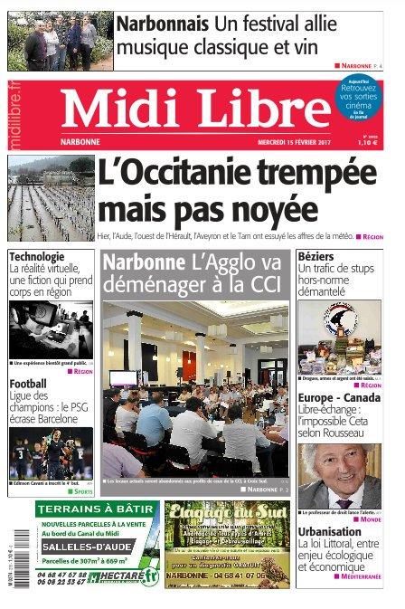 A la une de #MidiLibre #Narbonne ce mercredi - L&#39;agglo va déménager à la CCI - Intempéries : l&#39;Occitanie trempée mais pas noyée<br>http://pic.twitter.com/KSWBZWpDGF