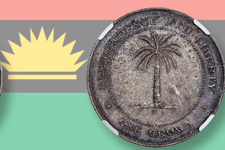 Silver coin from state of Biafra drew interest in January auction; realizes $8,812.50, including the 17.5 percent buyer's fee, in a recent auction.