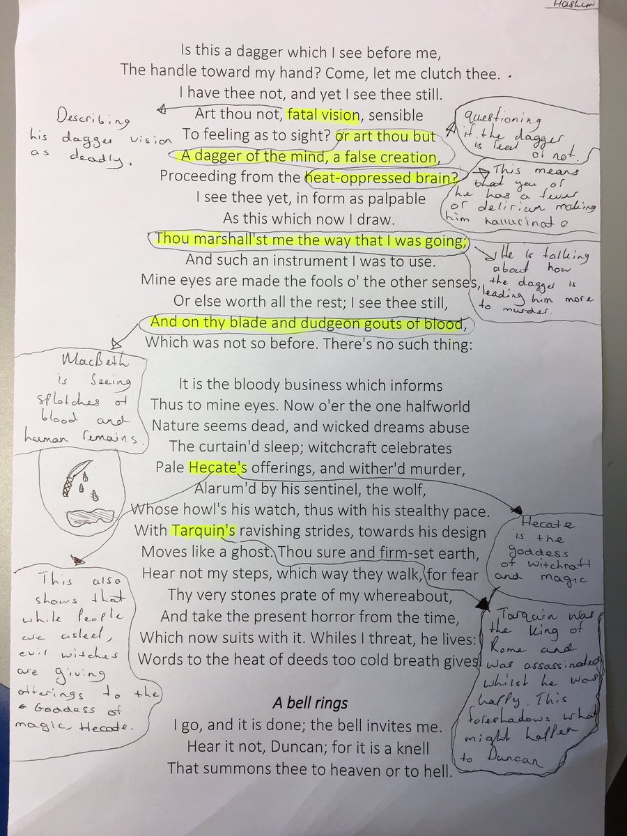 analysis of macbeth's soliloquy in act Macbeth's soliloquy at the start of act 1, scene 7, introduces us to a side of macbeth that has not yet been portrayed earlier in the play here, instead of being the.