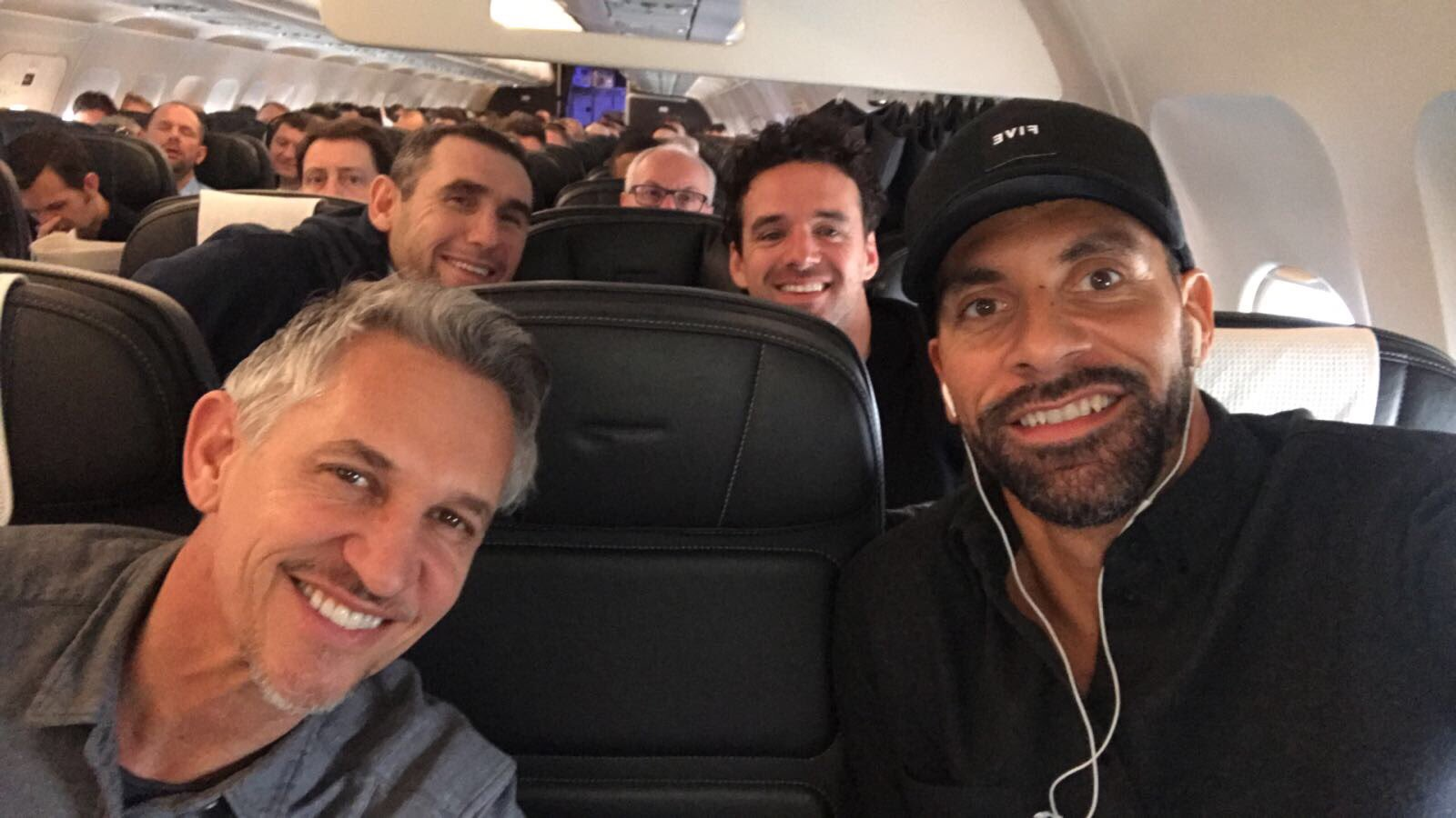 Munich bound with the @btsport crew... smiles from @GaryLineker Owen & the mad man marker @martinkeown5 🛩⚽️ #UCL https://t.co/G6nOl9lpMI