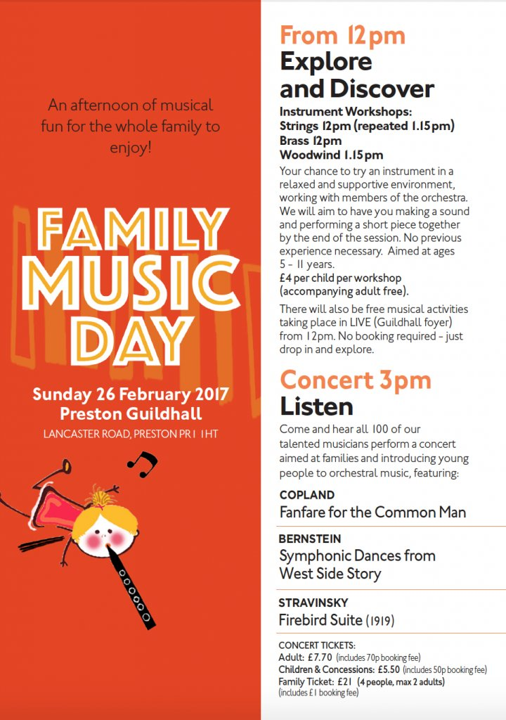 FAMILY MUSIC DAY @prestguildhall SUN 26 FEB  http://www. piccadillysymphony.co.uk/concerts/famil y-music-day-preston-guildhall/ &nbsp; …  #Music #Orchestra #Workshops <br>http://pic.twitter.com/ZG3tPqfLcu