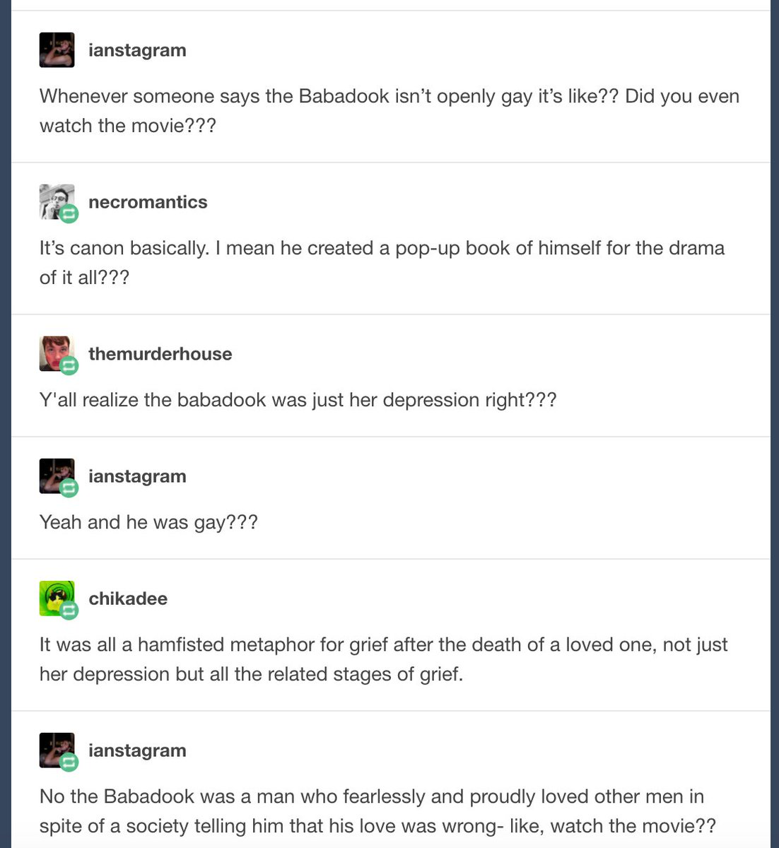 My new favorite tumblr meme is insisting that the babadook is gaypic twitter com id1pjpkkgx
