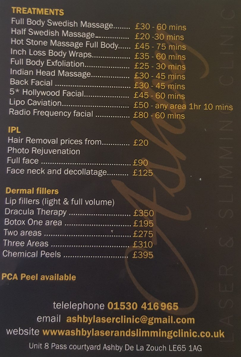 Ashby Laser Clinic On Twitter New Price List Ashby Beauty