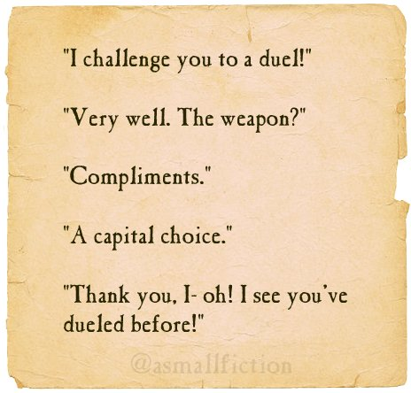 Challenge someone to a duel today! #WednesdayWisdom #kindness https://t.co/BYKGWDB9Gi