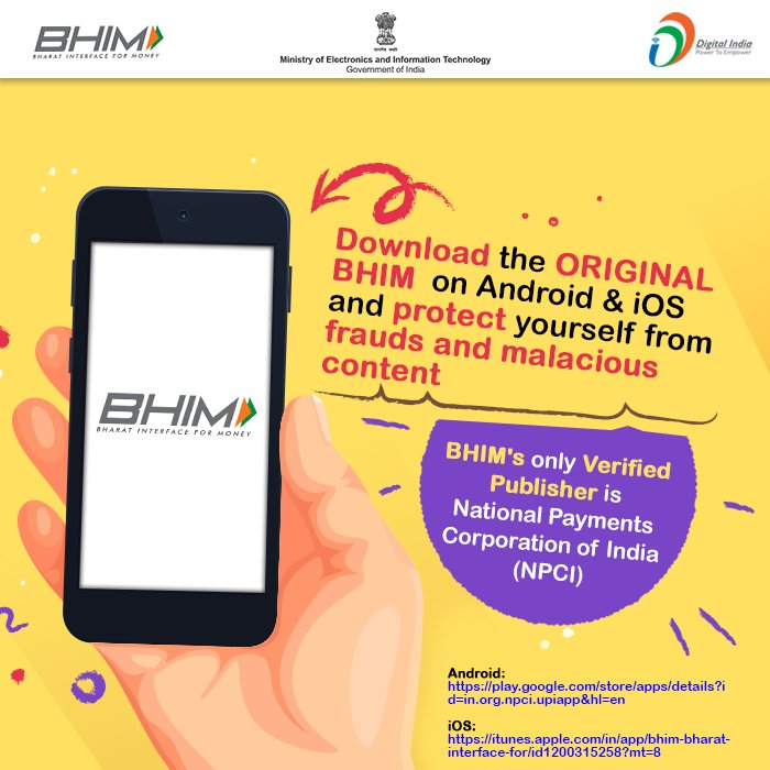 If you are about to download #BHIM #mobileapp, please reda this advisory... #DigitalIndia #Advisory #DigidhanAbhiyan @NPCI_BHIM @PIB_India<br>http://pic.twitter.com/FTLHujClc5