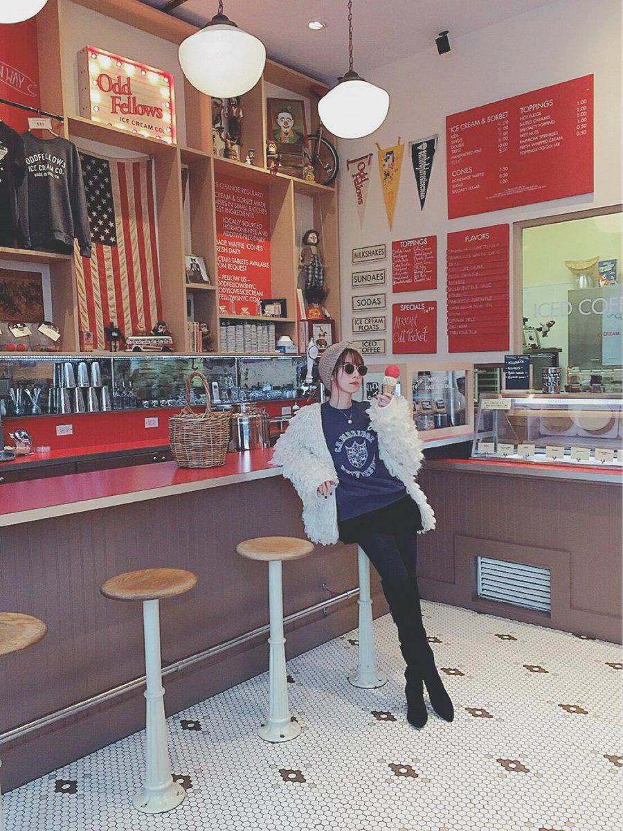 ここのアイスクリーム屋さんおいしかったし店員さんの笑顔がかわいくて癒されました、にしてもはらたつかお…