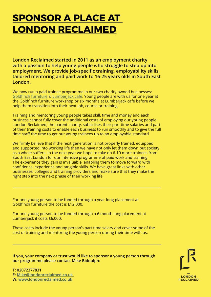London Reclaimed On Twitter Calling All People Businesses Or Trusts Who Want To Sponsor A Young Person Through A 6 Month Or Year Long Work Programme Youthemployment Https T Co Hx8kkvqdp6