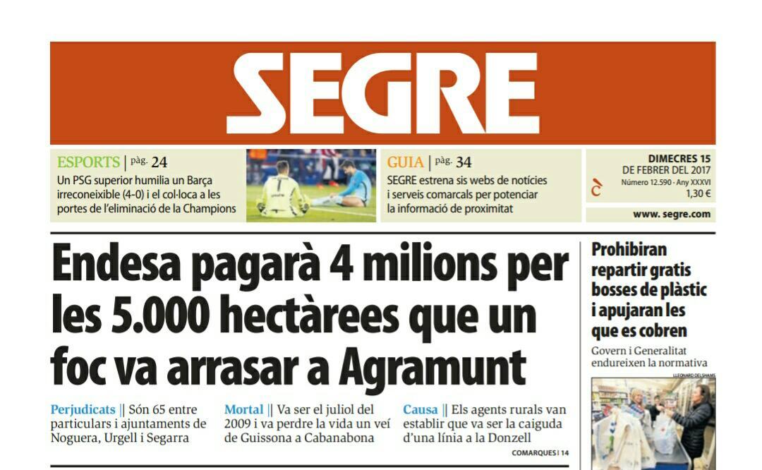 Investigació causa #incendis #AgentsRurals: Endesa responsable incendi d 5.055 ha #ifAgramunt de juliol d 2009 #Agramunt #Urgell #Cabanabona<br>http://pic.twitter.com/IH5FFCxZHQ