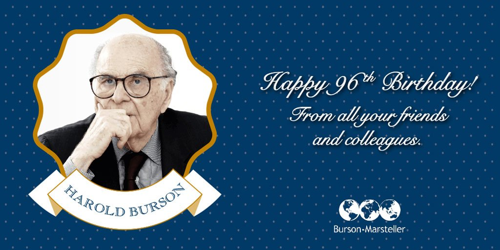 Guess who's turning 96 today? @B_M's Founding Chairman #HaroldBurson! #PRLegend #1BursonPerson #BursonPerson https://t.co/cKiejiXdqB