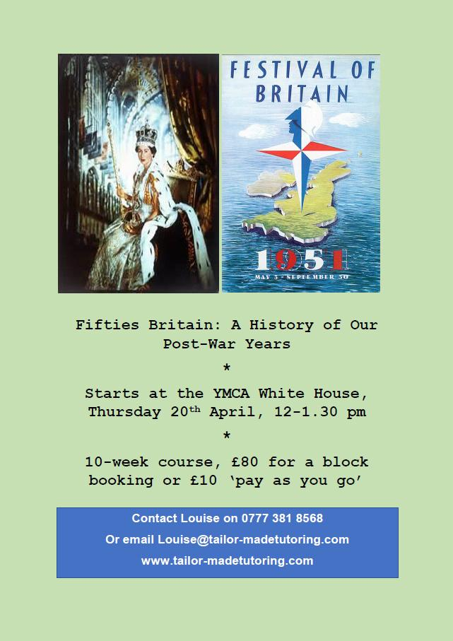 There&#39;s a great #new history course starting in #Hampton @ymcawhitehouse - #Fifties #Britian, all about the #postwar years. @hamptonvillage <br>http://pic.twitter.com/9H4OaFcuk7