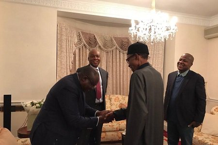 President Muhammadu Buhari has, on Wednesday, met with Senate President, Dr. Abubakar Bukola Saraki in in Abuja House, London, United Kingdom.