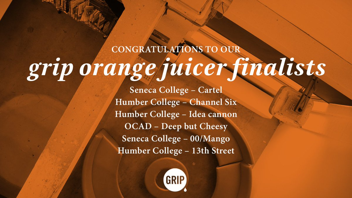 Congratulations to the 6 teams that will be moving on to the next round of the 2017 Grip Orange Juicer Competition! https://t.co/PBRZ0MNl5u